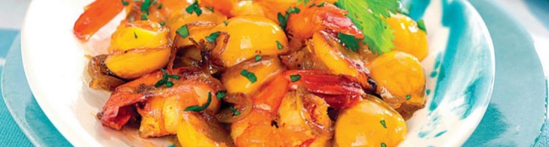 Recette curry de gambas aux mirabelles de lorraine