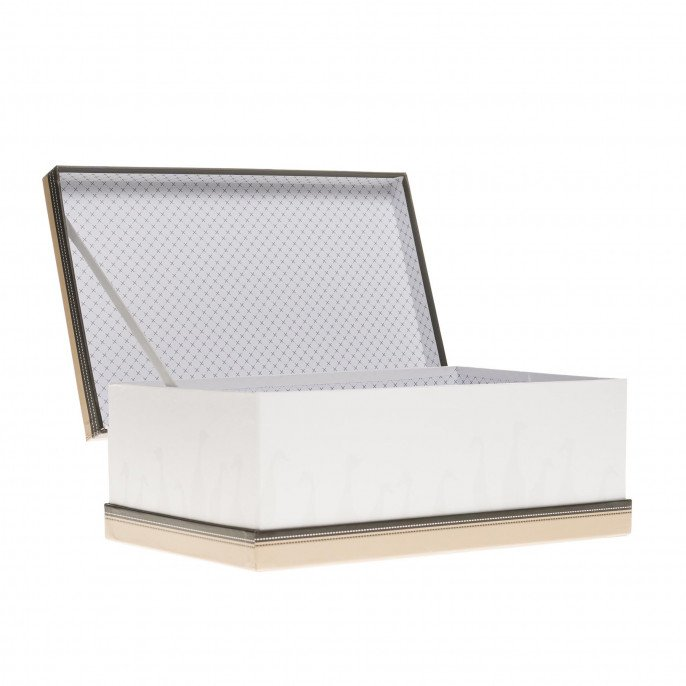 Coffret rectangle blanc et beige