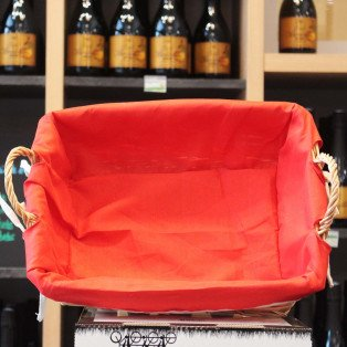 Panier osier tissu rouge 38x28x11cm