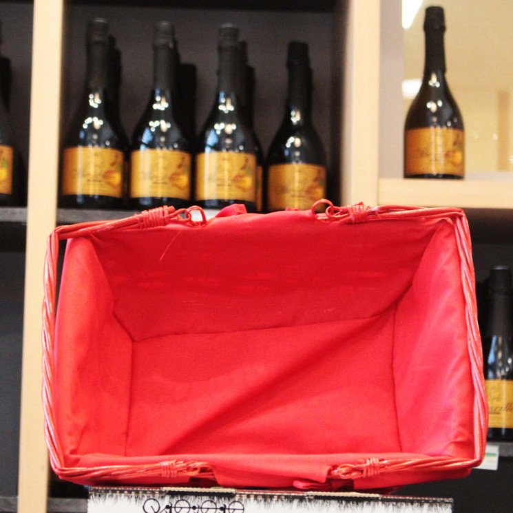 Panier osier rouge tissu rouge 35x27x13cm