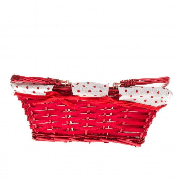 Panier osier rouge et tissu blanc à pois rouges 35x27x13