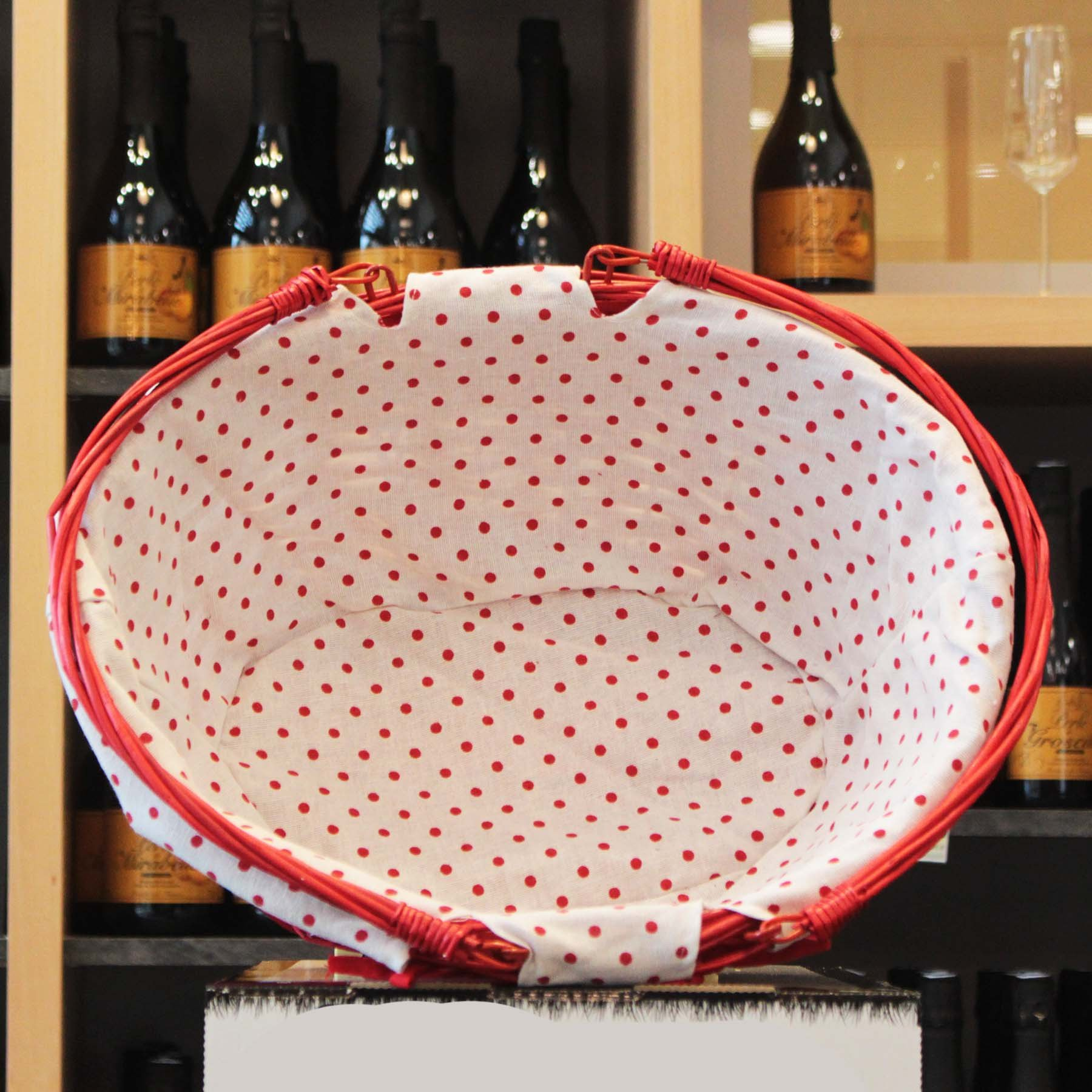 Panier ovale en osier rouge tissu blanc à pois rouges 42x32x18cm