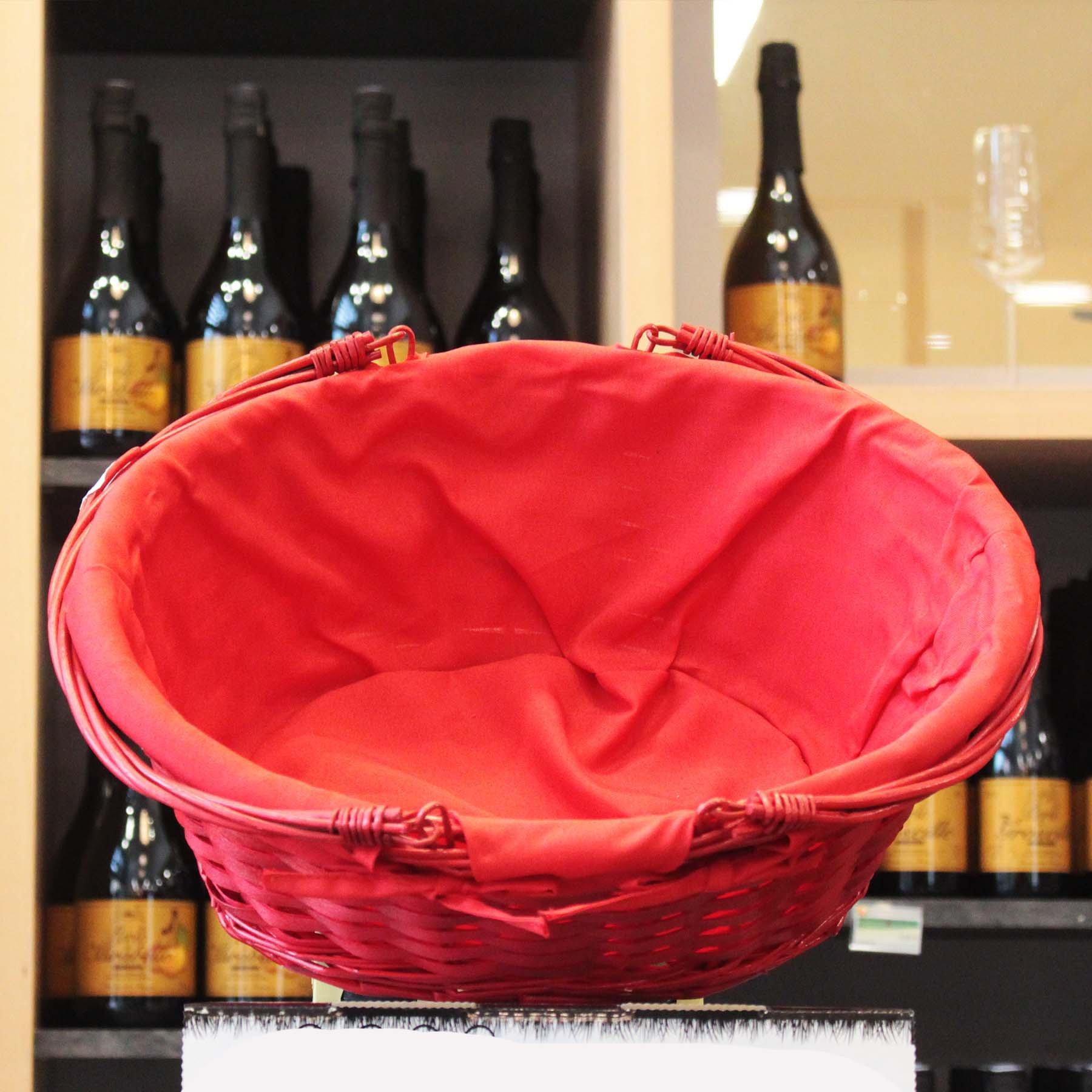 Panier ovale en osier rouge tissu rouge 42x32x18
