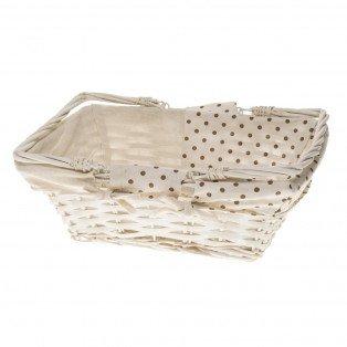 Panier en osier et tissu blanc 35 x 27 x 13cm