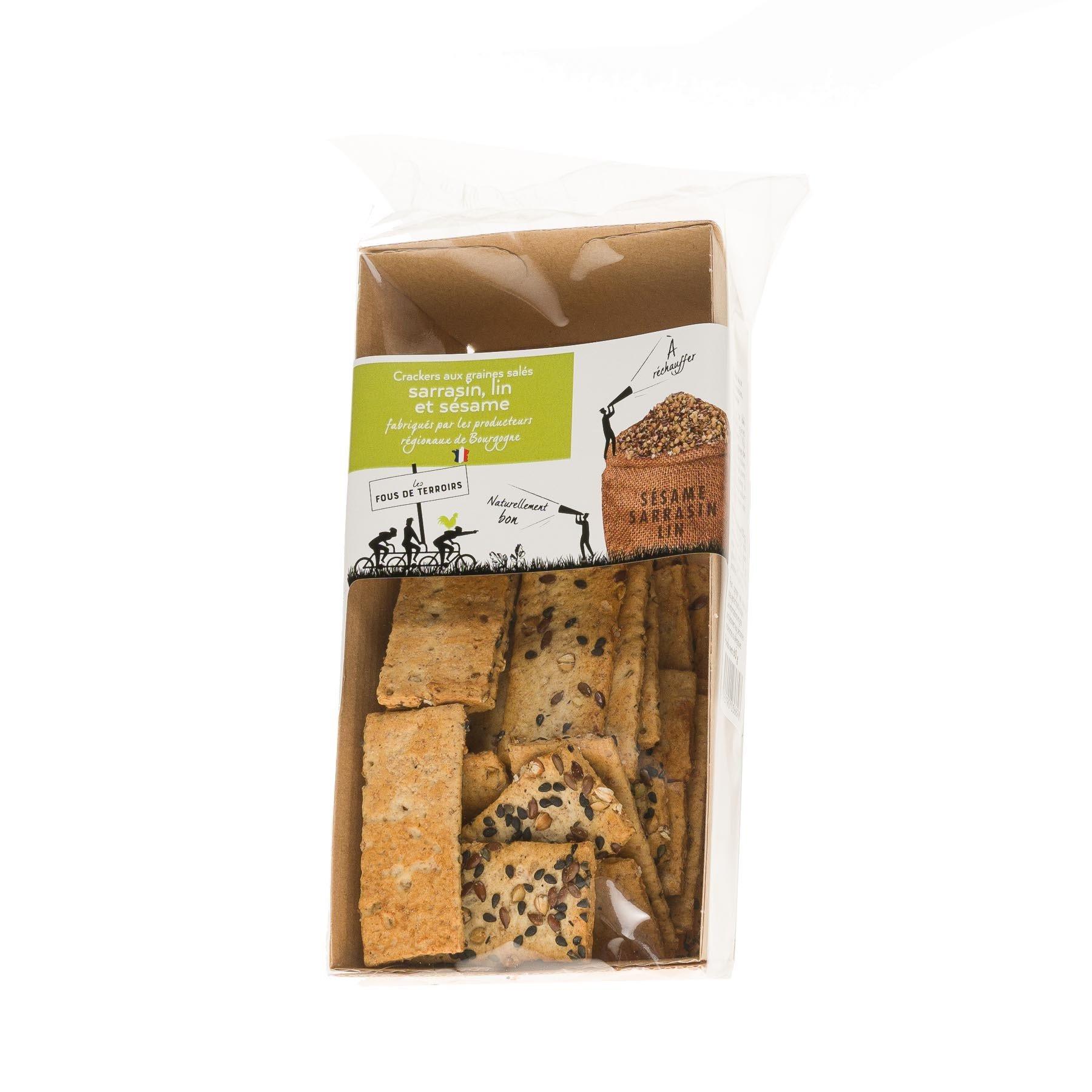 Crackers aux graines salées : sarrasin, lin et sésame