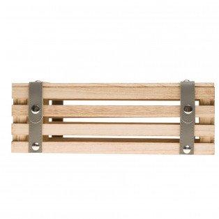 Coffret bois rectangle lanières simili cuir grises