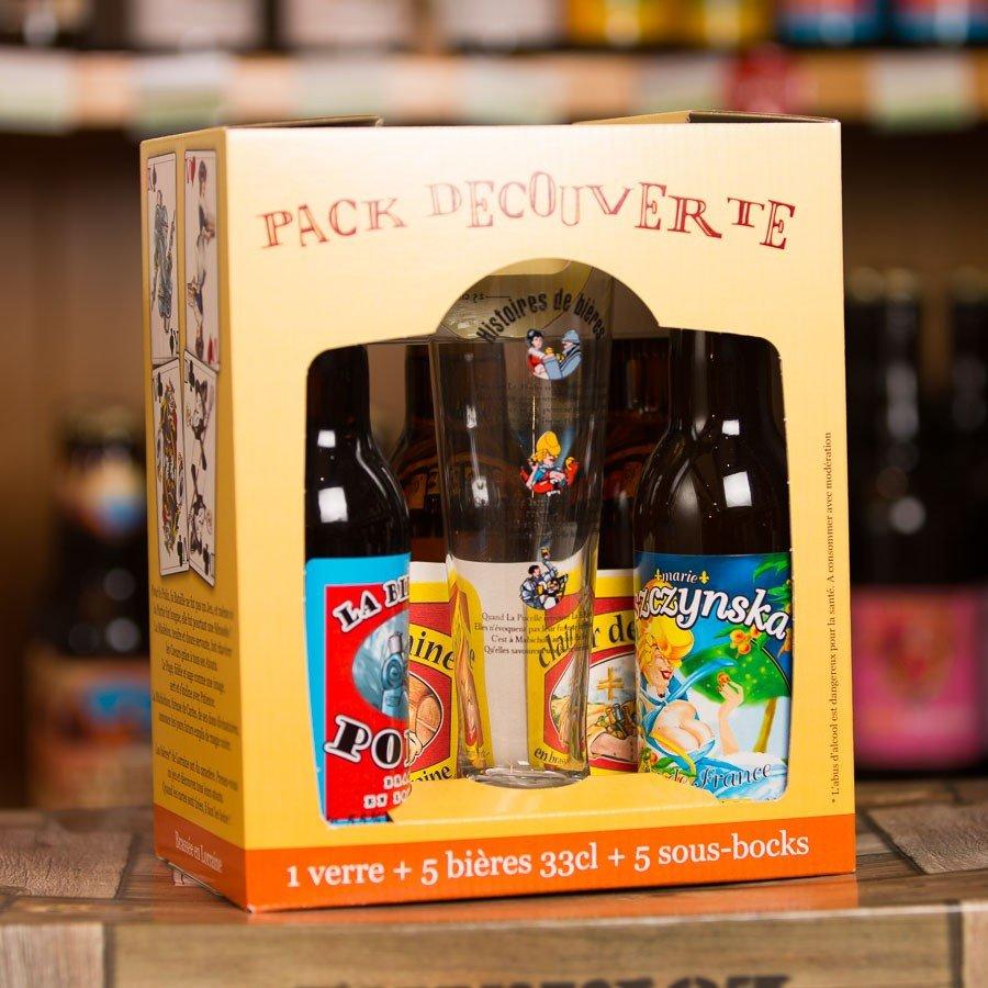 Pack Decouverte 5 bières 33 cl + 1 verre + 5 sous-bocks, 5.2°