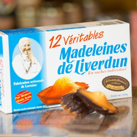 Boîte de 12 Véritables Madeleines de Liverdun Chocolat Noir, 250gr