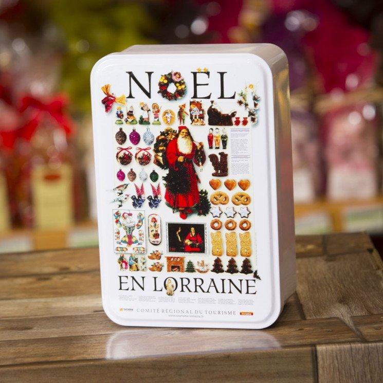 Boîte Métal Décor Noël avec biscuits sablés, 200 gr