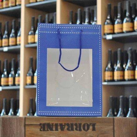 Sac papier bleu avec fenêtre et cordelette 20x19x29cm