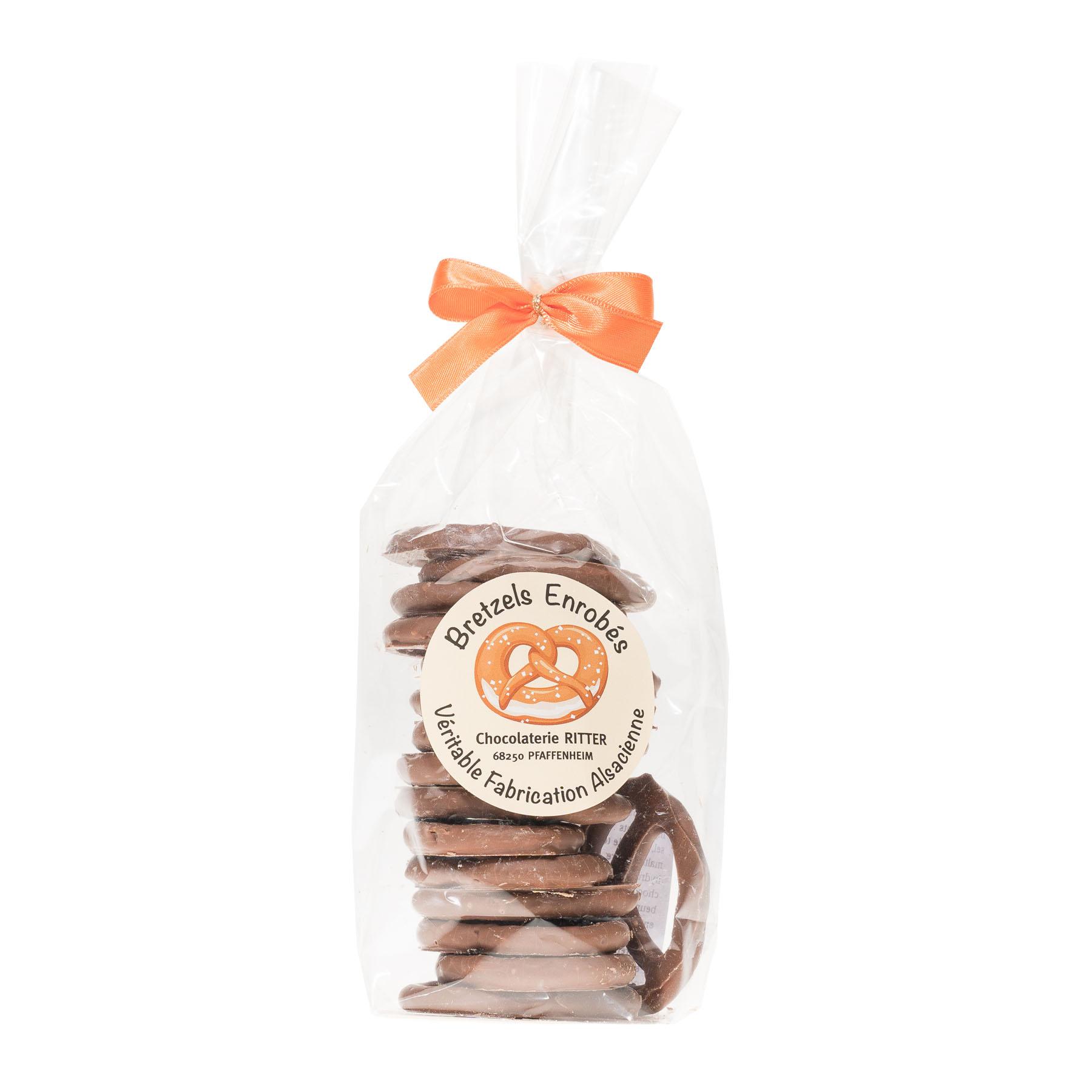 Bretzels salés enrobés chocolat, 100g