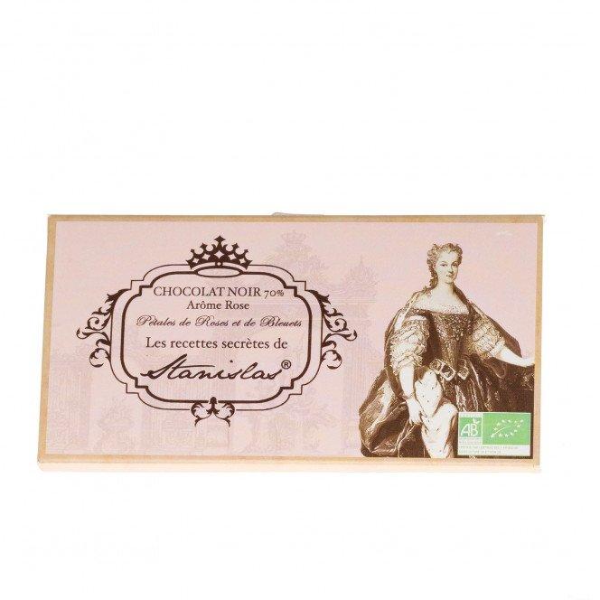 Tablette de chocolat noir 70% pétales de roses et bluets, 80g