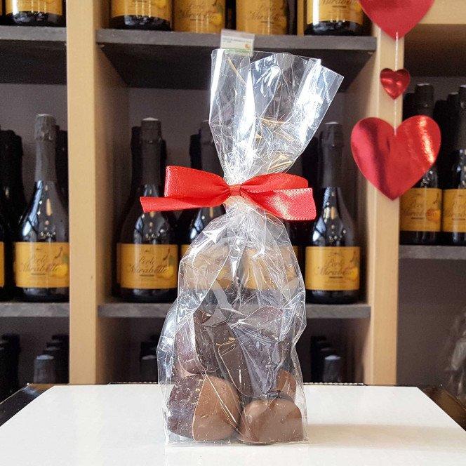 Sachet chocolat cœurs fourrés, 100g