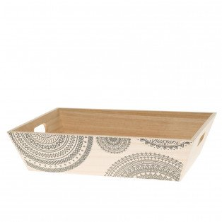 Corbeille en bois naturel mandala 35 x 25 x 9 cm