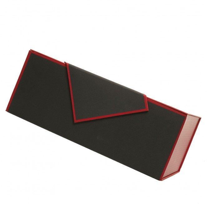 Coffret rectangle gris et rouge à garnir 35 X25 X14cm