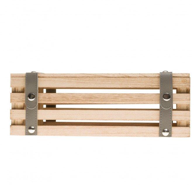 Coffret bois rectangle lanières simili cuir grises 35 X 21 X 12 cm