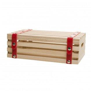 Coffret bois rectangle lanières simili cuir rouges 35 X 21 X 12 cm