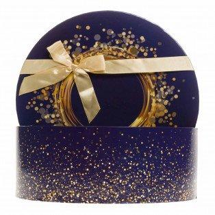 """Coffret rond """"Bonne fêtes"""" bleu et or avec noeud 31.5 X 12 cm"""