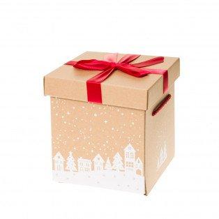 Petit Coffret cadeau nœud rouge 18 X 18 X 19.5 cm