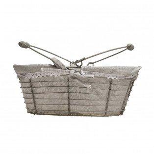 Panier en métal oval gris tissu crochet blanc anses rabattables 30 X 20 X 12cm