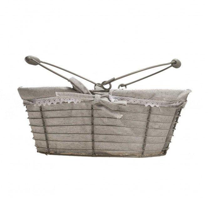 Panier en métal ovale gris tissu crochet blanc anses rabattables 30 X 20 X 12cm