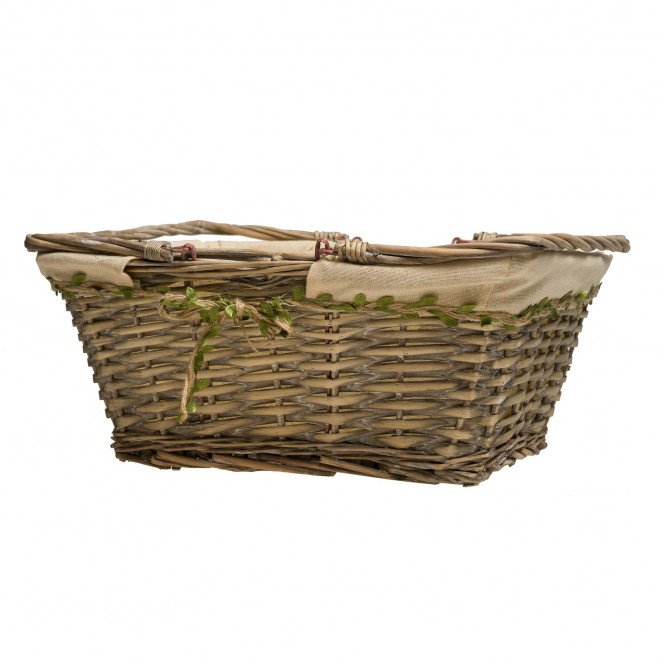Panier osier rectangle beige cordelette feuilles 42 X 32 X 18 cm