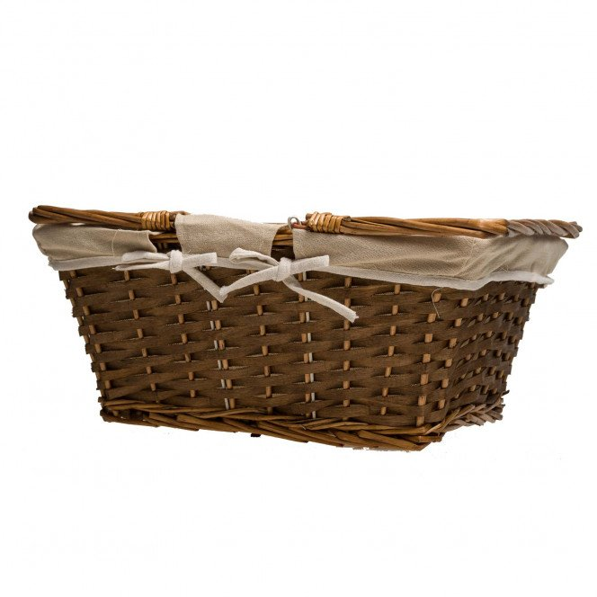Panier osier marron tissu écru 42 X 32 X 18 cm