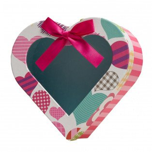 Boîte carton cœur rayé rosé 19 X 19 cm