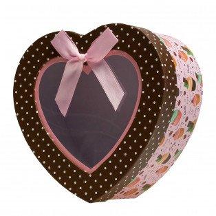 Boite carton cœur décor cupcake 19 X 19 cm
