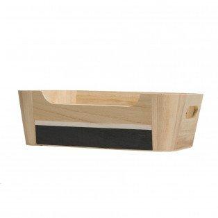 Petite corbeille bois rectangle nature et grise 26.7 X 16.7 X 8.3 cm