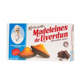 Boite de 10 véritables madeleines de Liverdun chocolat noir