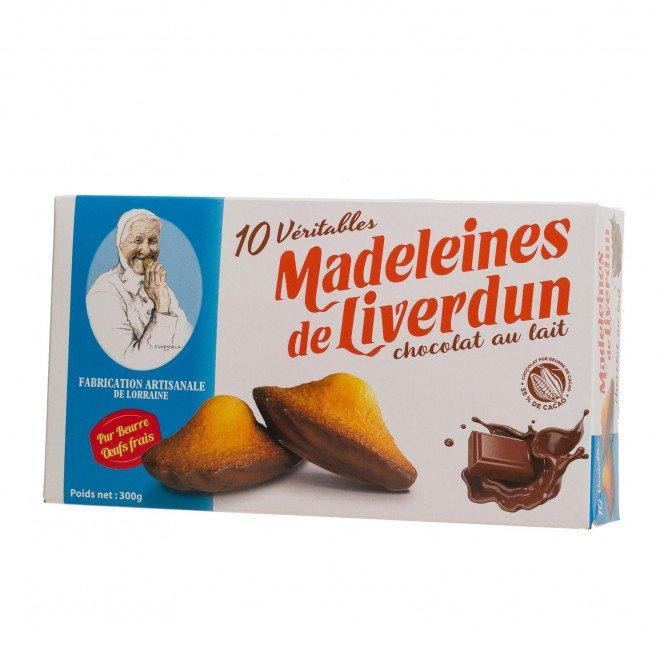 Boite de 10 véritables madeleines de Liverdun chocolat lait
