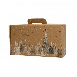 Petite valisette carton décor sapin gris blanc 33 X 18 X 9cm