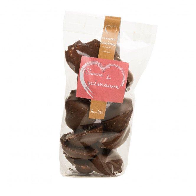 Cœurs de guimauve enrobés de chocolat lait