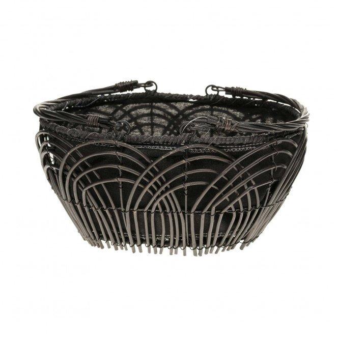 Panier osier ovale noir tissu noir avec anses rabattables 30 X 23 X 15 cm