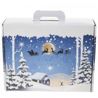 Grande valisette carton décor Noël 40 X 32.5 X 12 cm