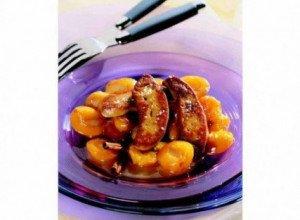 Copeaux de foie gras et mirabelles compotées au miel