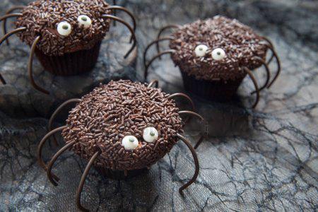 Muffins araignées Halloween chocolat framboises